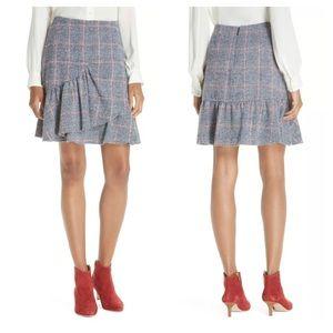 Rebecca Taylor Wool Blend Plaid Ruffle Mini Skirt